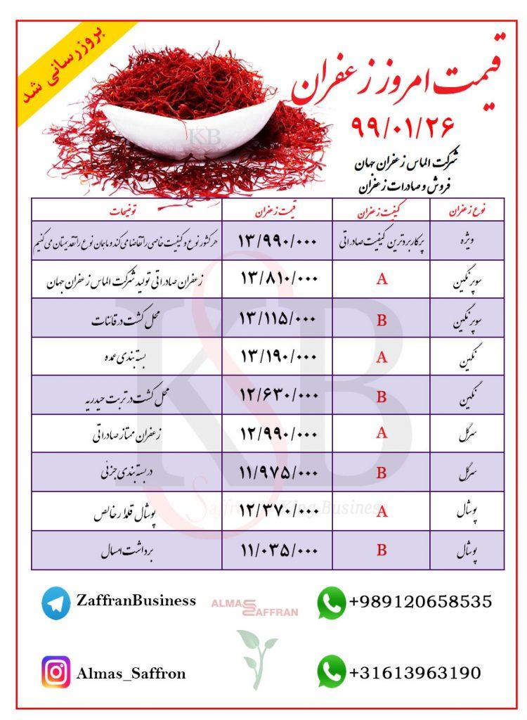 قیمت خرید زعفران صادراتی عمده