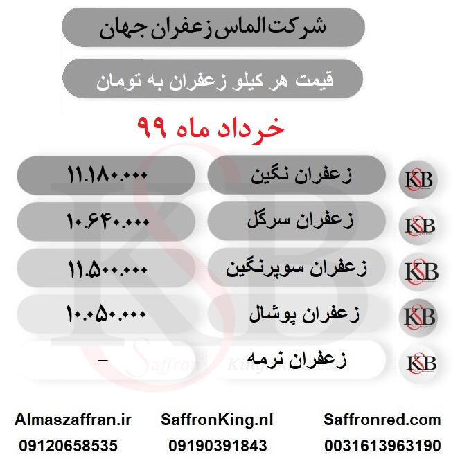 قیمت امروز زعفران مشهد